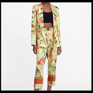 Zara tropical pants and matching blazer